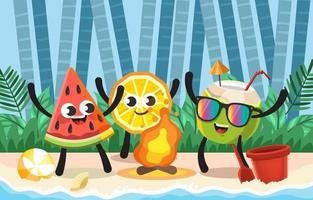 engraçado dançar frutas no verão na estação vetor