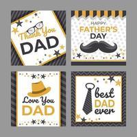 feliz dia dos pais conjunto de cartões de felicitações vetor