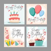 conjunto de cartão de feliz aniversário vetor