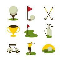 conjunto de ícones de esporte de golfe vetor