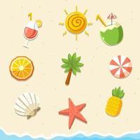 conjunto de ícones tropicais e de verão vetor