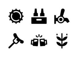 conjunto simples de ícones sólidos de vetor relacionados à cerveja