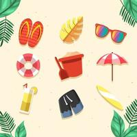 ícone do pacote inicial de férias de verão vetor