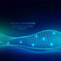 Fundo de onda abstrata tecnologia azul brilhante vetor