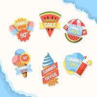 conjunto de emblemas de marketing de liquidação de verão vetor