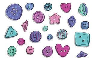 roupas de botão doodle conjunto. coleção de botões redondos de pano plástico de crianças coloridas no estilo cartoon. ilustração da coleção do alfaiate do acessório da roupa do design da moda. vetor