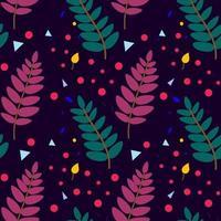 padrão botânico sem costura com elementos vegetais. folhas de sorveira, bagas. design para têxteis, tecidos, capas, papel de parede, impressão, embalagens para presentes. ilustração vetorial vetor