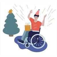 pessoa com deficiência em cadeira de rodas comemora ano novo, natal, aniversário. ilustração vetorial vetor