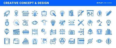 conjunto de ícones de linha plana de design e conceito criativo. conceitos de vetor para design e desenvolvimento de sites e aplicativos.