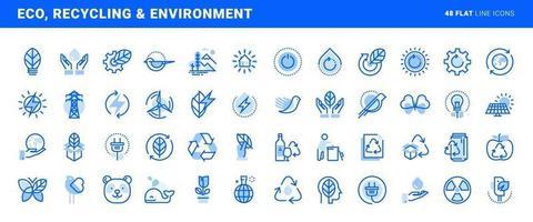 conjunto de ícones de linha plana de meio ambiente, tecnologia verde, energia renovável, reciclagem. conceitos de vetor para design e desenvolvimento de sites e aplicativos.
