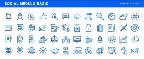 conjunto de mídia social e ícones de linha plana de escritório básico. conceitos de vetor para design e desenvolvimento de sites e aplicativos.