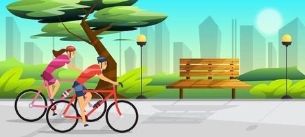 duas pessoas andando de bicicleta no conceito de parque vetor