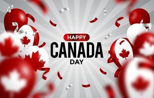 feliz dia canadense com conceito realista de balão vetor