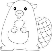 página para colorir das crianças do castor ótima para livro de colorir iniciante vetor