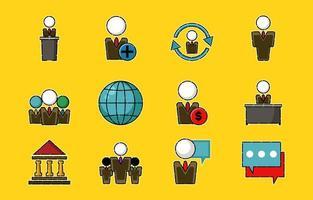 conjunto de ícones de negócios de pessoas vetor
