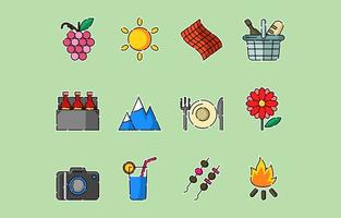 conjunto de ícones de piquenique fofo vetor