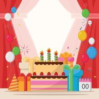 festa de aniversário com enfeite de bolo e balões vetor
