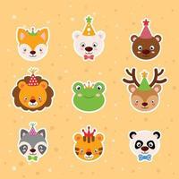 adesivos de desenhos animados de animais vetor