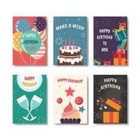 conjunto de cartão de aniversário vetor