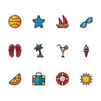 conjunto de ícones de verão fofo vetor
