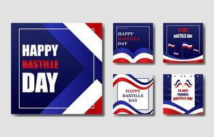 bastille day card set vetor