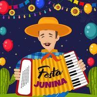 ilustração festa junina com gente alegre vetor