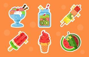conjunto de adesivos de comida de verão vetor