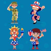 conjunto de personagens americanos vetor