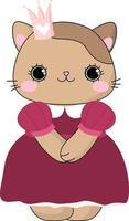doodle gatinho marrom princesa gatinha linha menina linha desenhada mão ilustração vetorial bebê fofo animal de estimação vetor