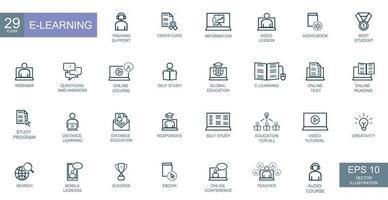 conceito de negócio, empresários, e-learning. conjunto de ícones da web de linha fina. vetor