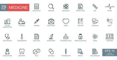 conjunto de ícones da web de linha fina. símbolos de medicina e saúde. vetor