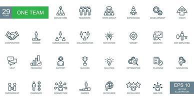 conceito de negócio, empresários, uma equipe. conjunto de ícones da web de linha fina. vetor