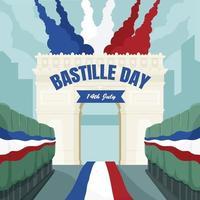 bastille dia 14 de julho na ilustração do arco do triunfo vetor