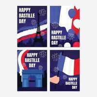 cartão do feliz dia da bastilha vetor