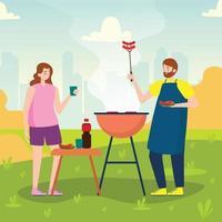 festa de churrasco em família no quintal homem grelhando comida no parque ou jardim vetor