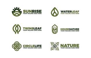 delinear coleção minimalista de design de logotipo natural com vetor