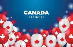 dia canadense com balões e ilustração cintilante vetor
