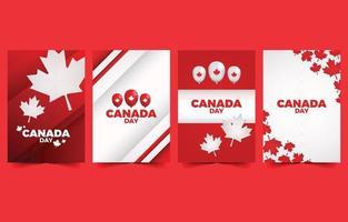 ilustração do design do cartão canadense com folhas e balões vetor