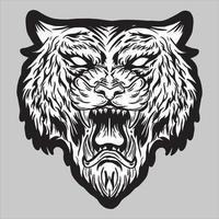 cabeça de tigre zangado rugindo ilustração vetorial preto e branco vetor