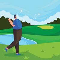 homem desportivo a jogar golfe vetor