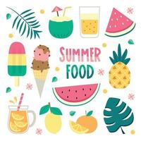 conjunto de ícones de comida de verão vetor