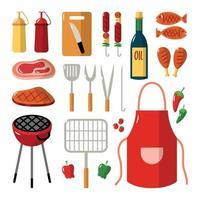 conjunto de ícones de equipamentos para churrasco vetor