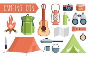 conjunto de ícones de equipamentos de camping vetor