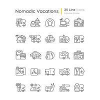 conjunto de ícones lineares de férias nômades vetor