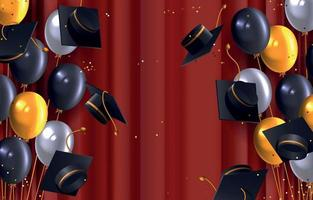fundo de graduação realista vetor
