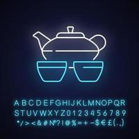 ícone de luz de néon do conjunto de chá chinês vetor