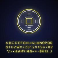 ícone de luz de néon de moedas chinesas antigas vetor