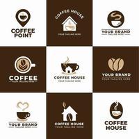 grãos de café marrom branco com tema moderno e bebidas vetor