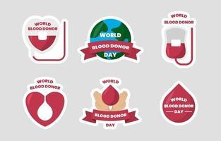 coleção de adesivos do dia mundial do doador de sangue vetor