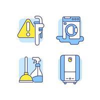 conjunto de ícones de cores rgb de encanamento vetor